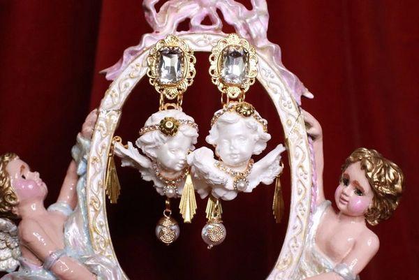 8019 Baroque White Large Chubby Cherubs Angels Dangle Earrings
