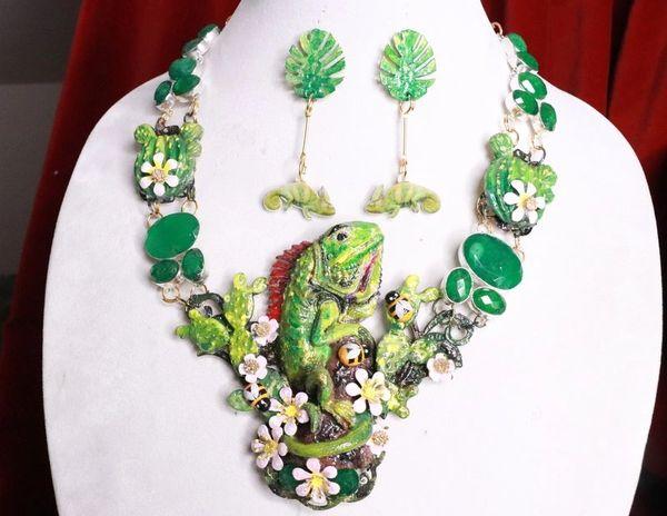 8020 Set Of Genuine Zambian Emerald Hand Painted Vivid Iguana Necklace+ Earrings