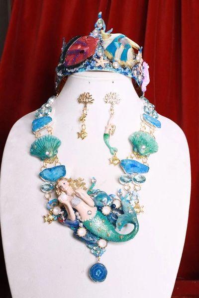 SOLD! 8021 Set Of Genuine Solar Quartz Topaz Gemstones Mermaid Necklace+ Earrings