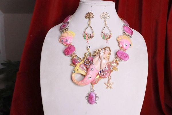 RESERVED 8022 Set Of Genuine Solar Quartz Druzy Gemstones Mermaid Necklace+ Earrings