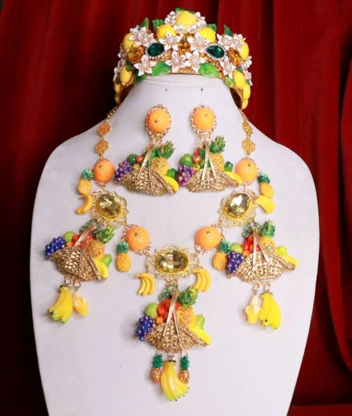 8023 Baroque Tropical Fruit Basket Hand Panted Necklace