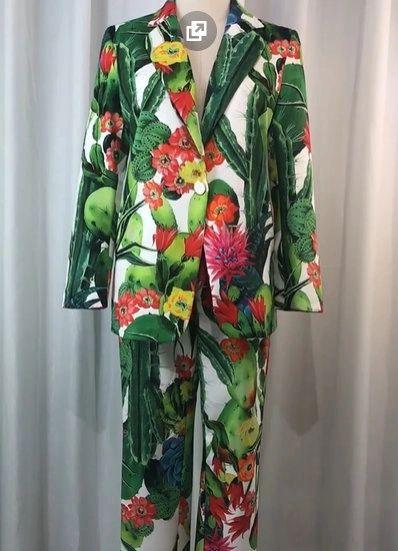 8024 Runway 2020 Tropical Cacti Print Blazer +Pants Twinset