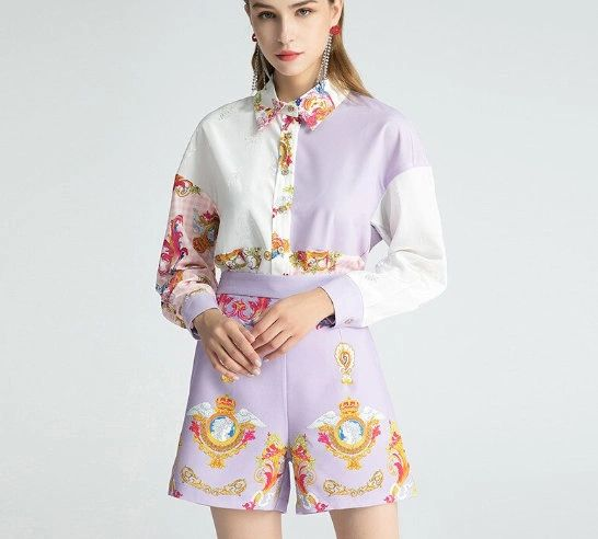 8025 Runway 2020 2 Colors Baroque Print Blouse +Shorts Twinset