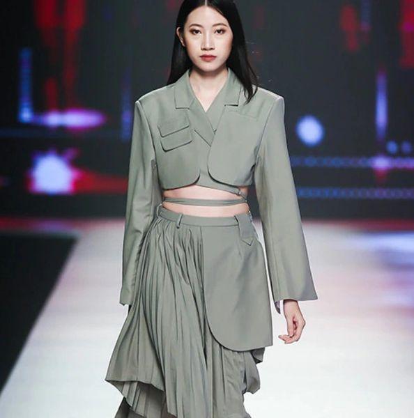 8027 Runway 2020 2 Colors Street Style Irregular Skirt+ Crop Blazer Twinset