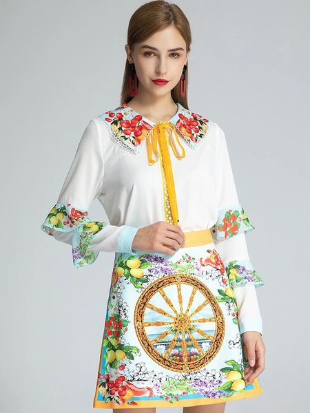 8028 Runway 2020 Lemon Print Skirt+ Blouse Twinset