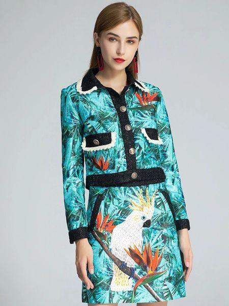 8029 Runway 2020 Parrot Print Skirt+ Crop Blazer Twinset