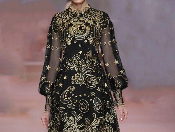 8030 Runway 2020 Embroidery Sheer Black Magic Dress