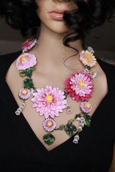 8035 Set Of Baroque Art Nouveau Vivid Asters Flowers Hand Painted Necklace + Earrings