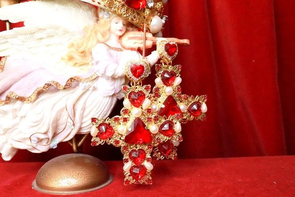 8037 Alta Moda Baroque Huge Filigree Red Hearts Crystal Cross Studs