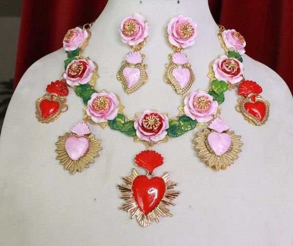 8038 Set Of Baroque Sacred Heart Roses Statement Necklace+ Earrings