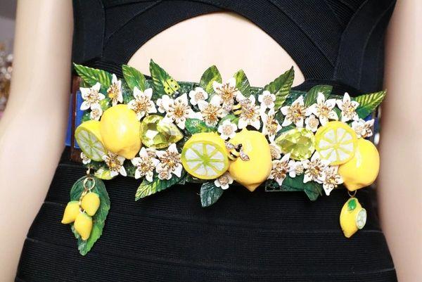 SOLD! 8039 Baroque Runway Sicilian Vivid Lemon Fruit Corset Waist Belt Size S, L, M