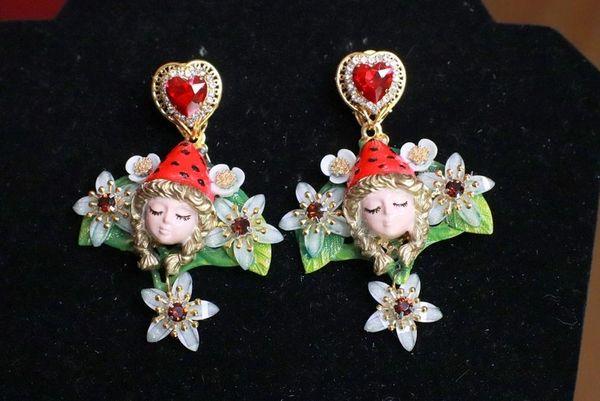 8040 Vivid Red Hood Forest Oak Hand Painted Studs Earrings