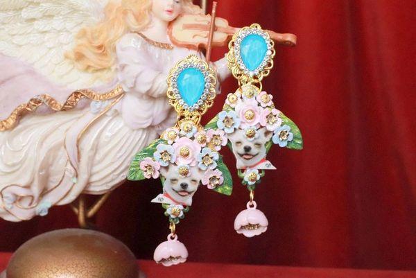 SOLD! 8045 Baroque Chihuahua Flowers Dangle Earrings Studs