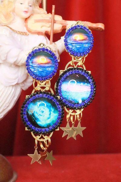 SOLD! 8046 Enamel The Future Is Female Celestial Cameo Earrings