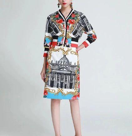 8054 Runway 2020 /baroque Roman Print Bomber + Skirt Twinset