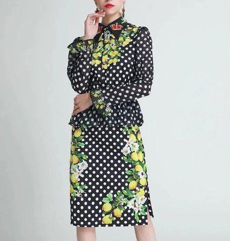 8055 Runway 2020 Polka Dot Lemon Print Blouse Peplum + Skirt Twinset