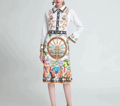 8056 Runway 2020 Lemon Print Elegant Midi Dress