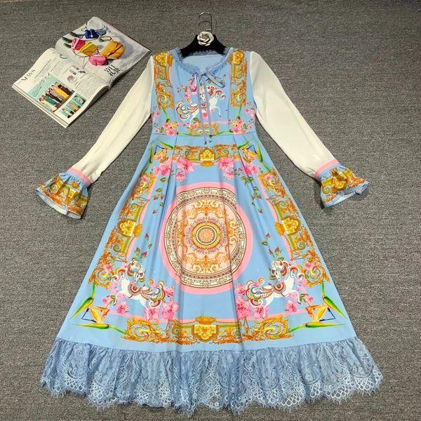 8059 Runway 2020 Russian Print Fairy-tale Blue Midi Dress