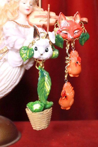 8062 Enamel Bunny Fox Cabbage Chicken Irregular Earrings Studs