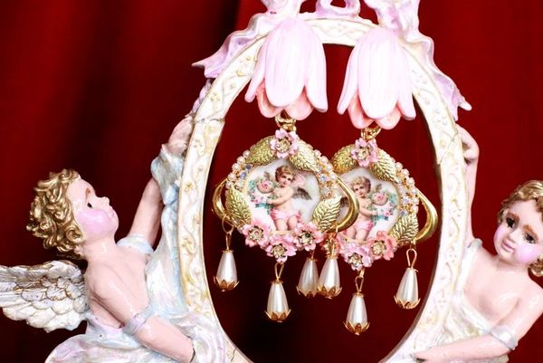 8063 Baroque Cherubs Tulip Pearl Dangle Earrings Studs