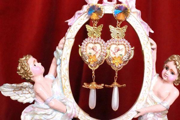 SOLD! 8064 Baroque Cherubs Tulip Pearl Dangle Butterfly Earrings Studs