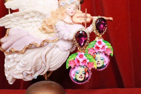 SOLD! 8065 Marilyn Monroe Fuchsia Flowers Earrings Studs