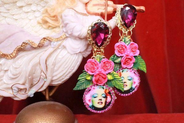 SOLD! 8066 Marilyn Monroe Fuchsia Roses Earrings Studs