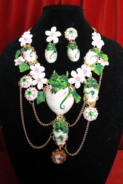 8070 Set Of Baby Dragon's Eggs Flower Hand Painted Necklace+ Earrings