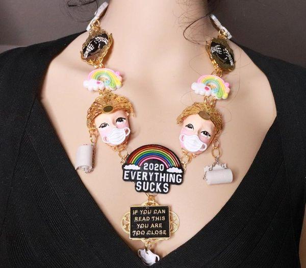 SOLD! 8071 Set Of Enamel Everything Sucks 2020 Unusual Necklace+ Earrings