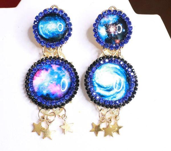8073 Celestial Planets Cameo Stars Cameo Earrings