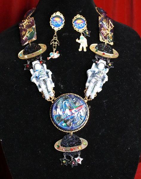 8074 Set Of Celestial NASA Astronauts Iridescent Necklace+ Earrings