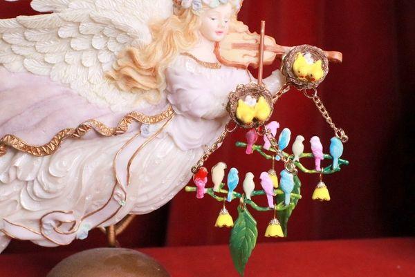 8075 Enamel Hand Painted Birds Dangle Flowers Massive Statement Earrings