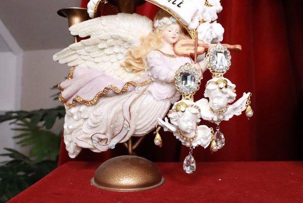 8076 Baroque White Large Chubby Cherubs Angels Dangle Earrings