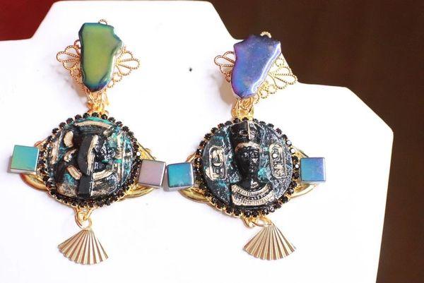 8077 Egyptian Revival Carved Iridescent Massive Earrings