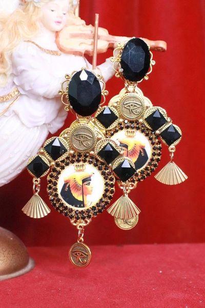 8079 Egyptian Revival Cleopatra Black Rhinestone Cameo Massive Earrings