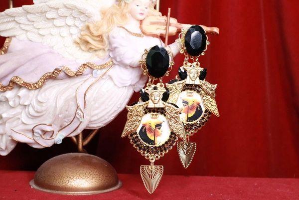 8080 Egyptian Revival Cleopatra Black Rhinestone Cameo Massive Earrings