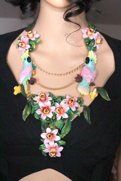 8082 Art Nouveau Pastel Parrots Dona Anna Cherry Blossom Flower Hand Painted Necklace