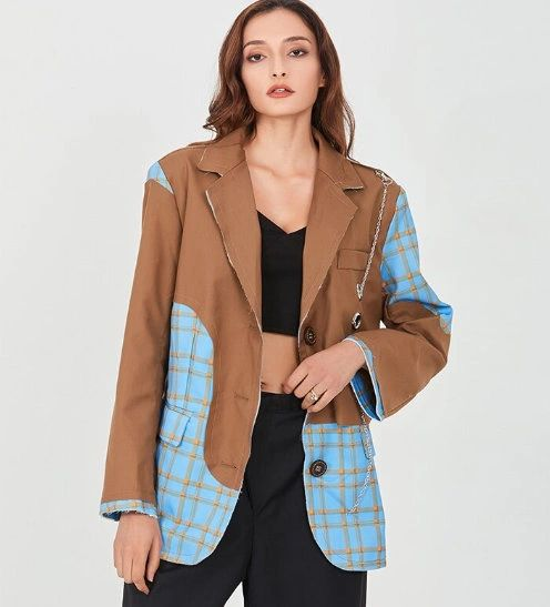 8083 High-End Runway 2020 Oversized Patchwork Single Breasted Blazer