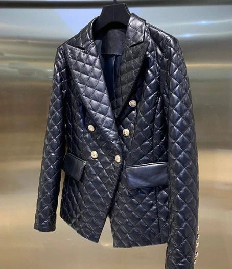 8084 2 Colors Runway 2020 Quilted Double Breasted Fit Blazer