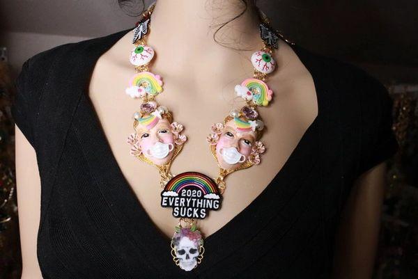 SOLD! 8086 Set Of Enamel Everything Sucks 2020 Unusual Necklace+ Earrings
