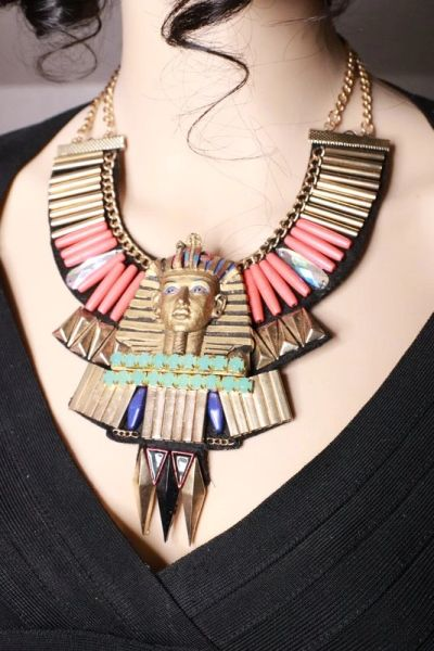8087 Egyptian Revival Pharaoh 3D Effect Statement Huge Necklace