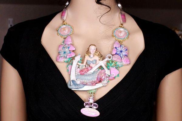 SOLD! 8088 Set Of Nautical Mermaid Genuine Druzy Jasper Necklace+ Earrings
