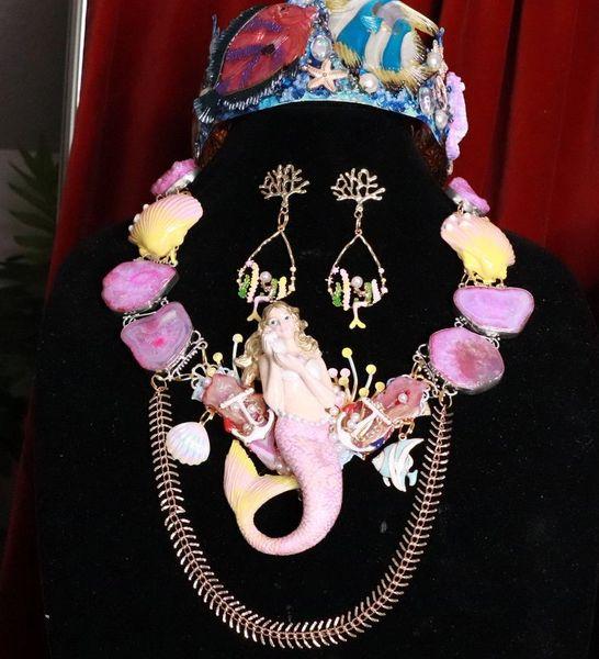 SOLD! 8089 Set Of Nautical Mermaid Genuine Solar Quartz Necklace+ Earrings