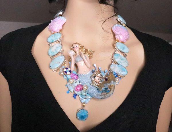 SOLD! 8090 Set Of Nautical Mermaid Genuine Caribbean Larimar Necklace+ Earrings
