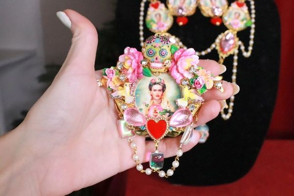 8094 Frida Kahlo Pastel Colors Hand Painted Birds Sacred Heart Huge Brooch