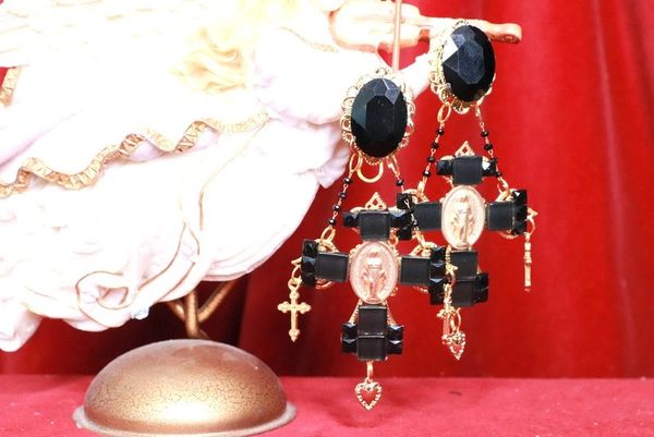 8097 Baroque Black Cross Rhinestones Virgin Mary Coin Studs Dangle Earrings