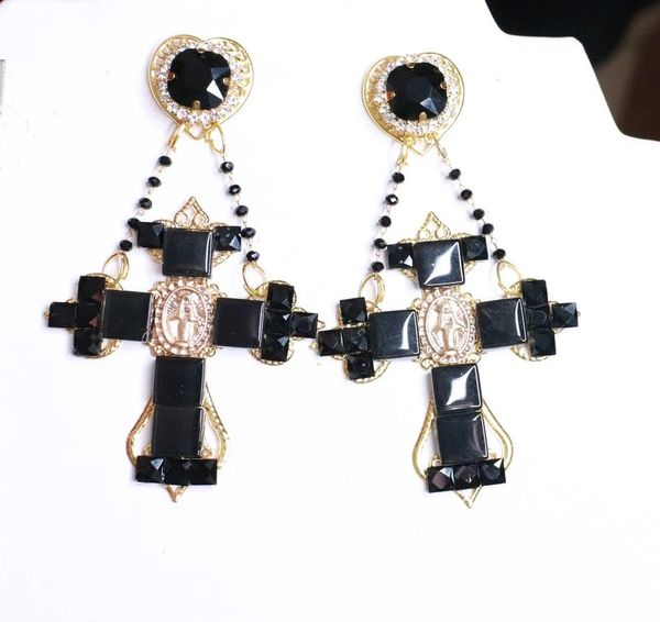 8098 Baroque Cross Black Rhinestones Virgin Mary Coin Studs Dangle Earrings