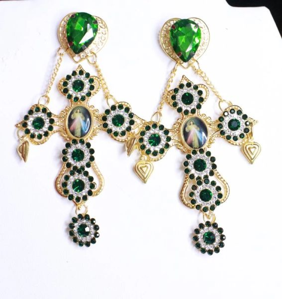 8099 Baroque Cross Green Rhinestones Jesus Coin Studs Dangle Earrings