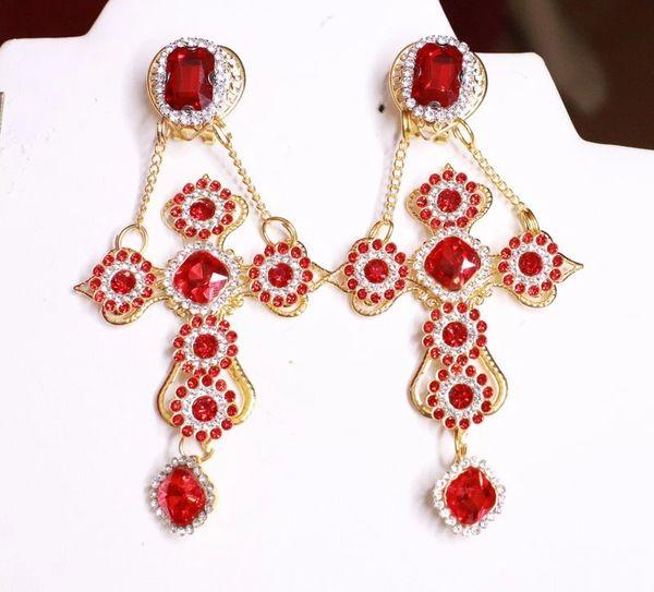 8100 Baroque Red Rhinestones Studs Dangle Earrings
