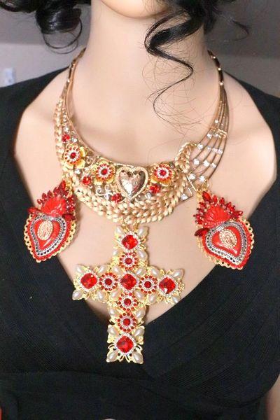 8102 Alta Moda Sacred Hearts Cross Red Rhinestone Massive Necklace